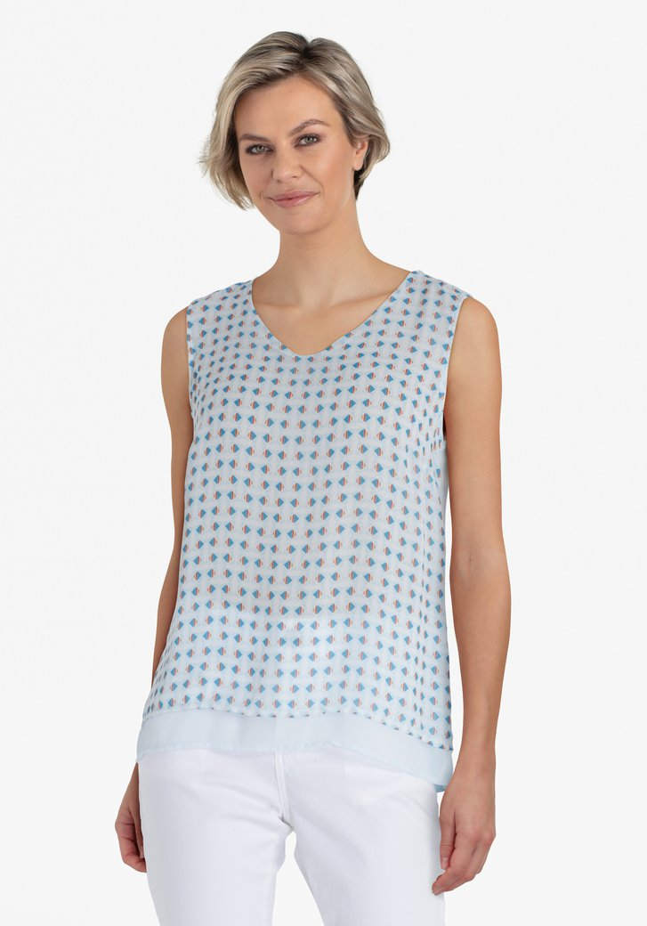 Witte top met blauwe print