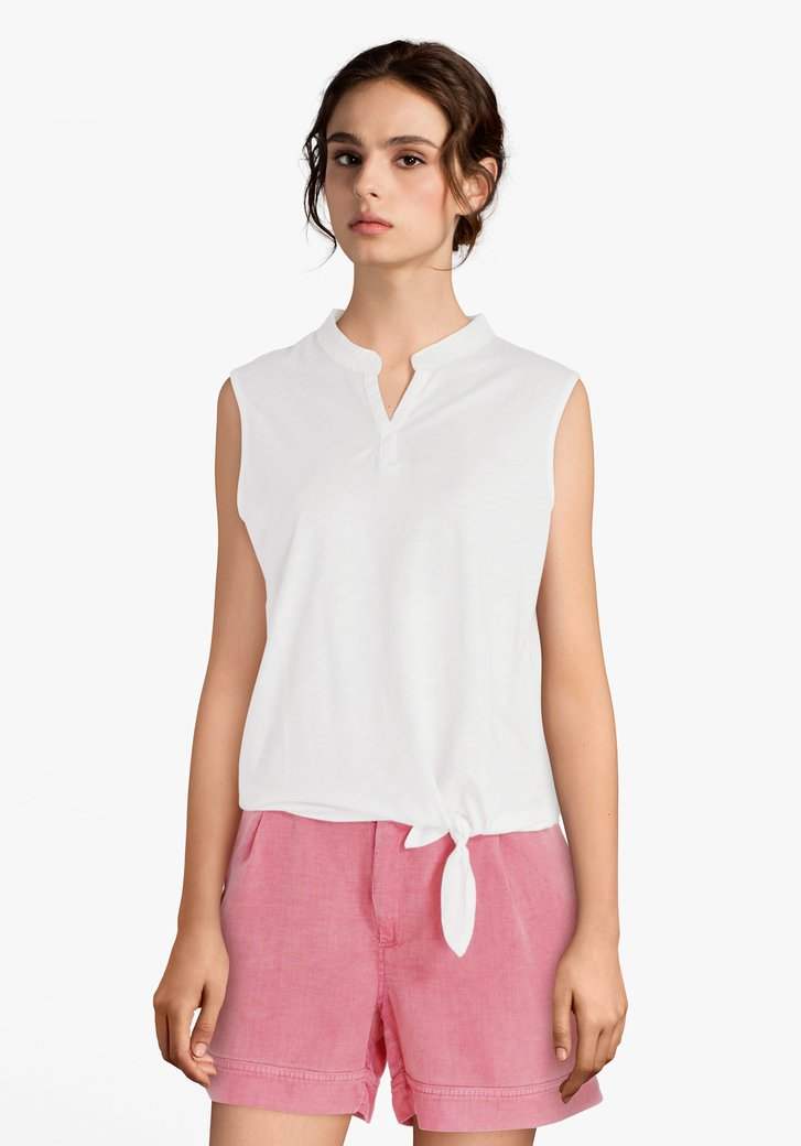 Witte top met broderie anglaise