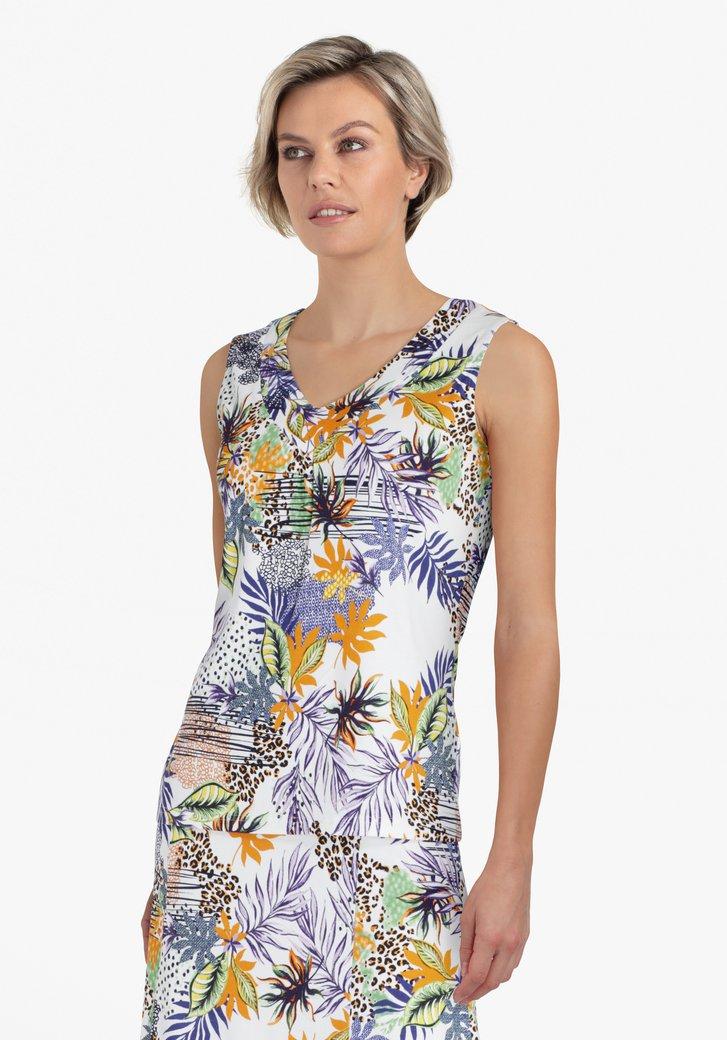 Witte top met kleurrijke tropische print