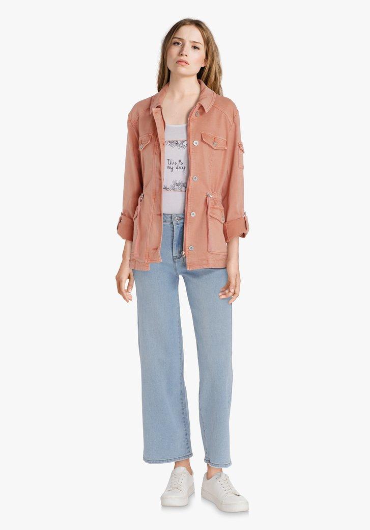 Zalmroze jeansjas