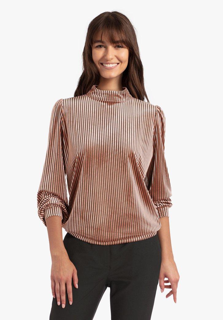 Zalmroze T-shirt in ribfluweel