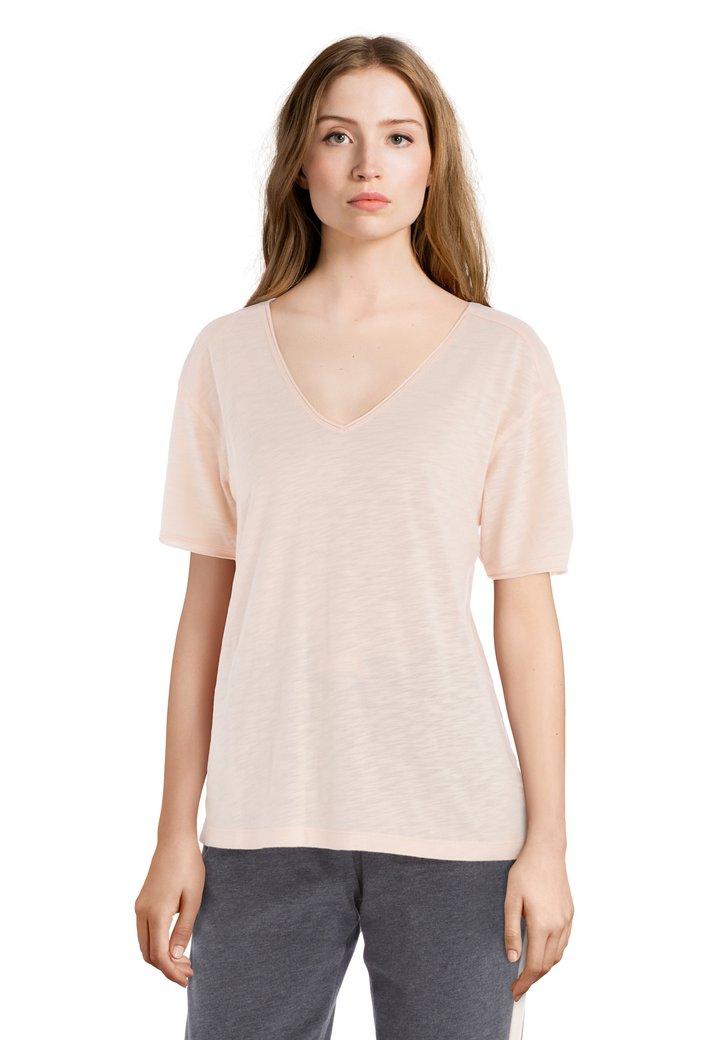 Zalmroze T-shirt met V-hals