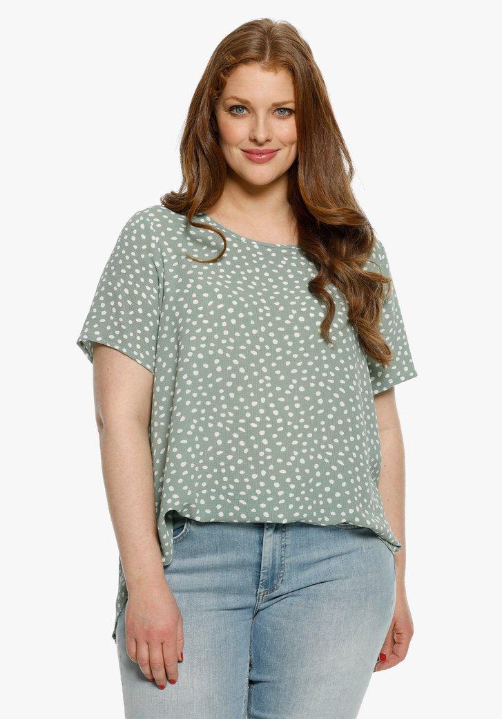 Zeegroene blouse met witte vlekjes