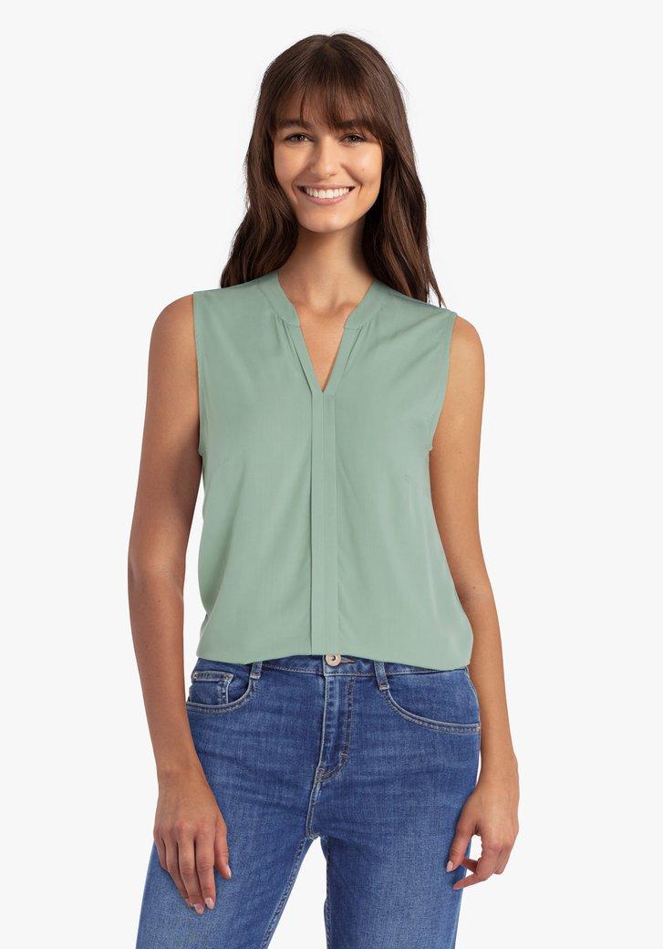 Zeegroene blouse zonder mouwen
