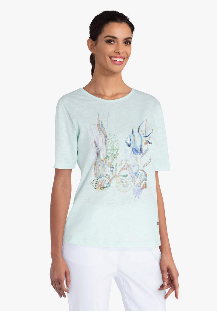 Zeegroene T-shirt met vissenprint