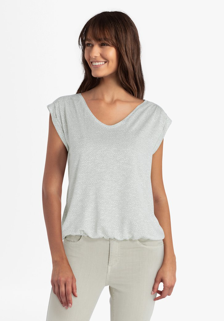 Zeegroene T-shirt met witte print