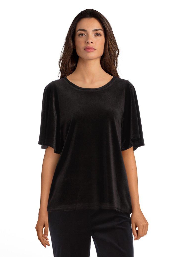 Afbeelding van Zwart fluwelen T-shirt
