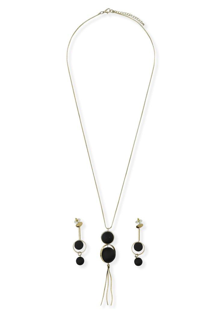 Zwart-goudkleurige ketting en oorbellen