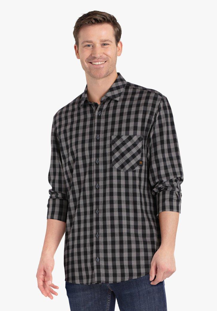 Zwart-grijs geruit hemd - regular fit