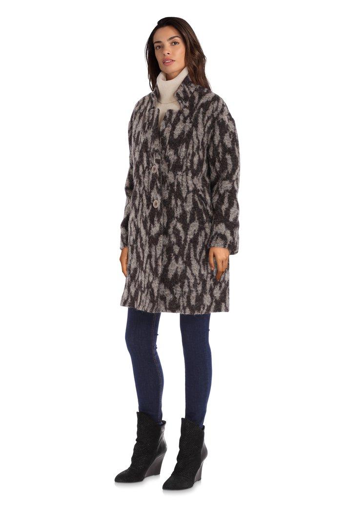 Afbeelding van Zwart-grijze mantel met wol en alpaca