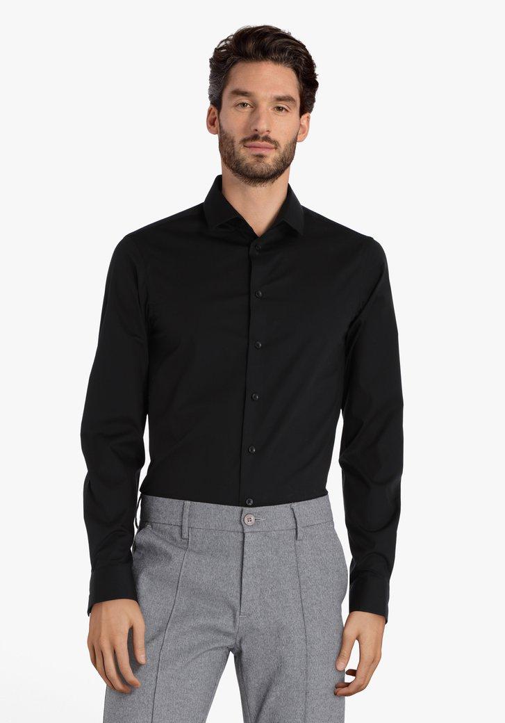 Zwart hemd in stretchkatoen – slim fit