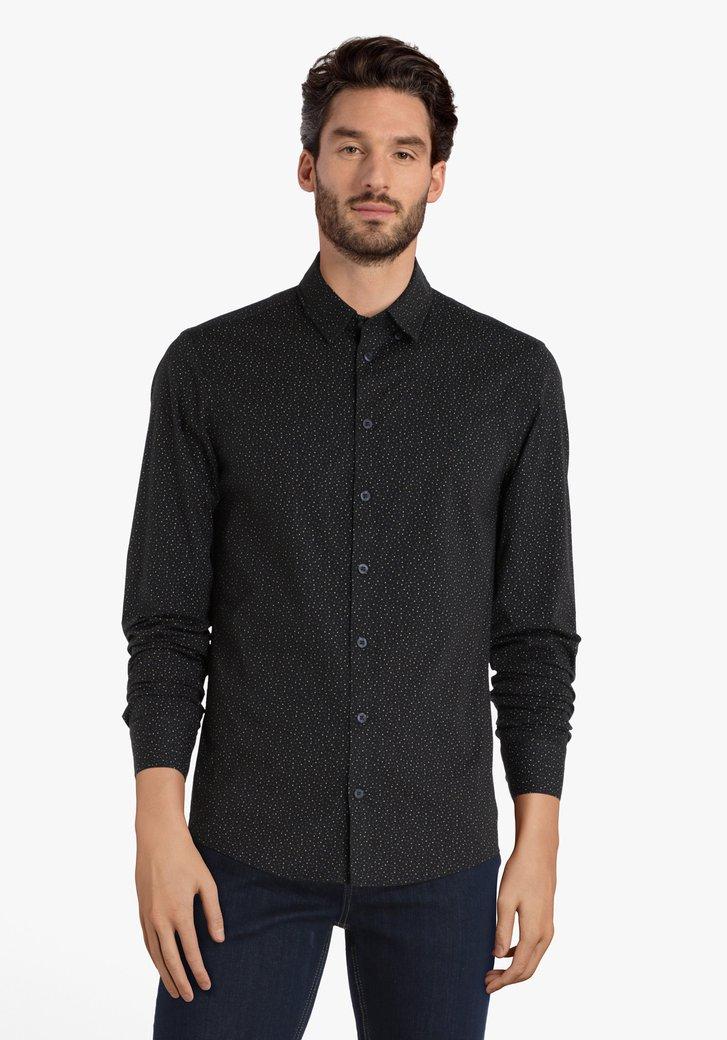 Zwart hemd met stipjes - slim fit