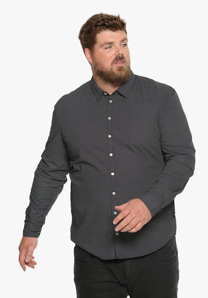 Zwart katoenen hemd met fijne print