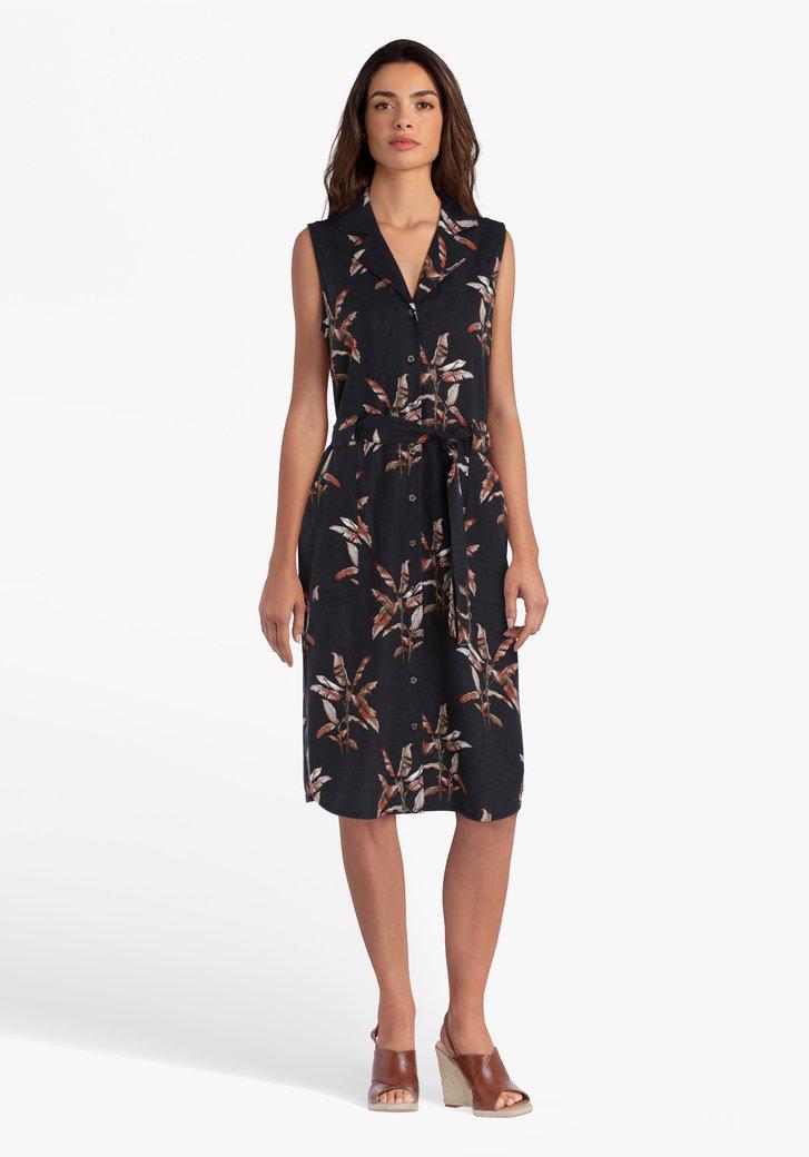 Zwart kleed met bruine bladerprint