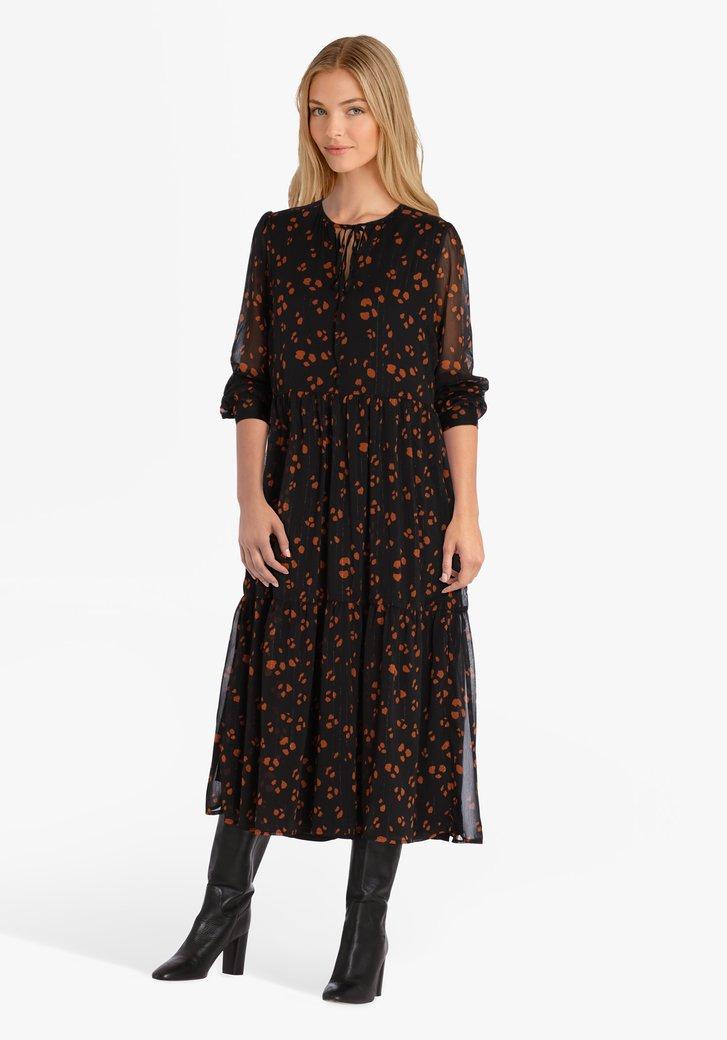 Zwart kleed met bruine print