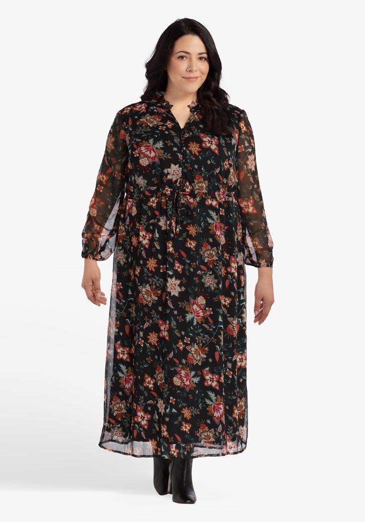 Zwart kleed met gekleurde bloemen