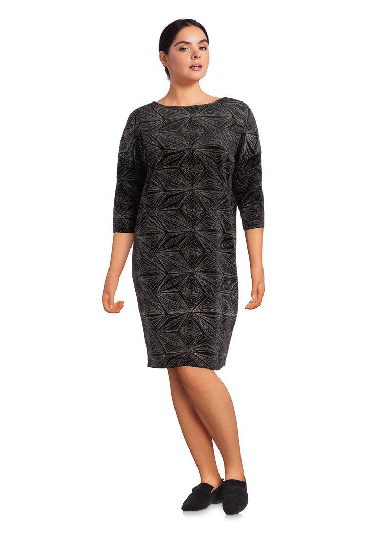 Zwart kleed met geometrische motiefjes in lurex