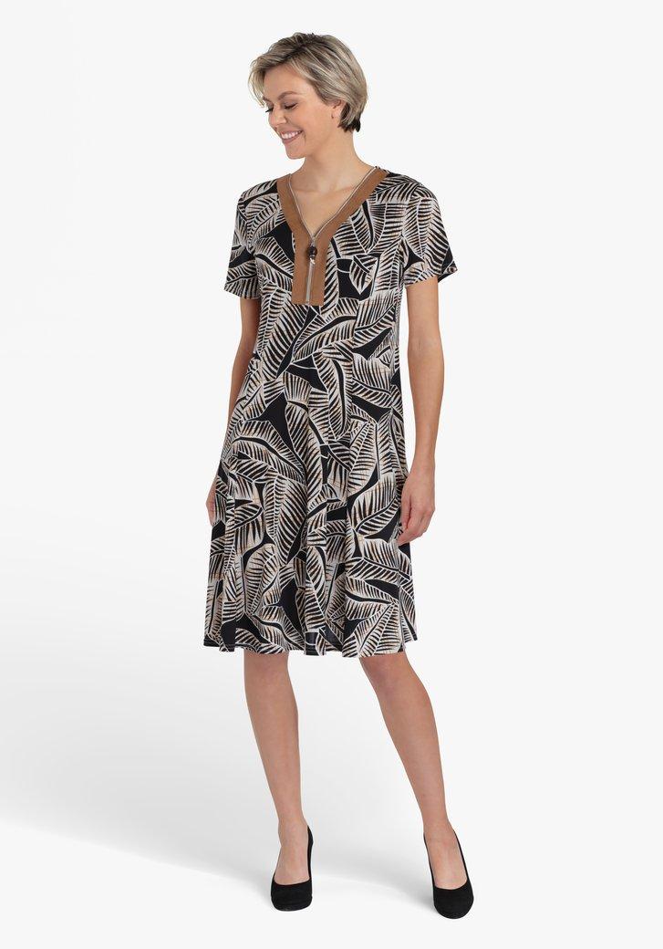 Zwart kleed met grijze bladerprint