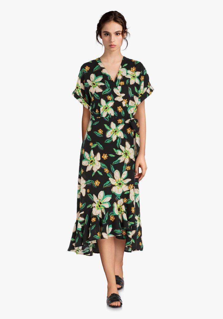 Zwart kleed met tropische bloemenprint