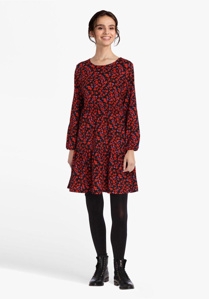 Zwart kleedje met bloemenprint