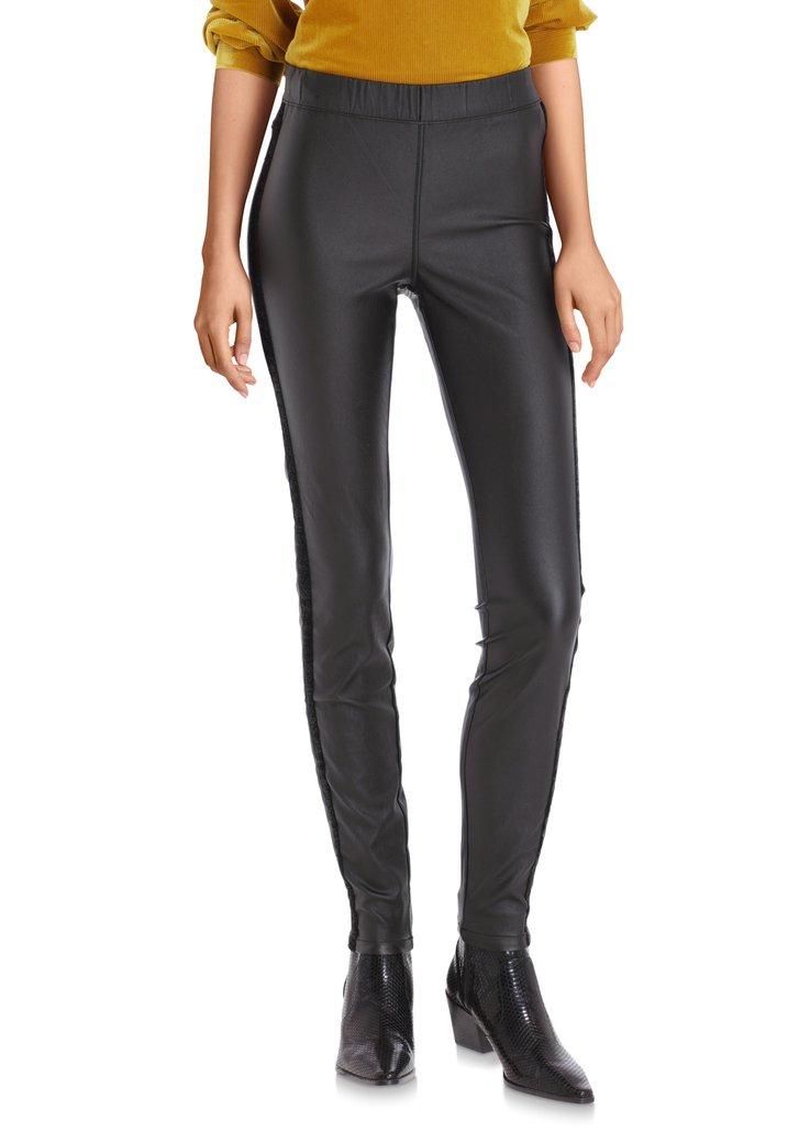 Zwart legging met coating en lurex