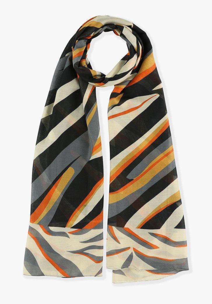 Zwart-oranje gestreepte sjaal