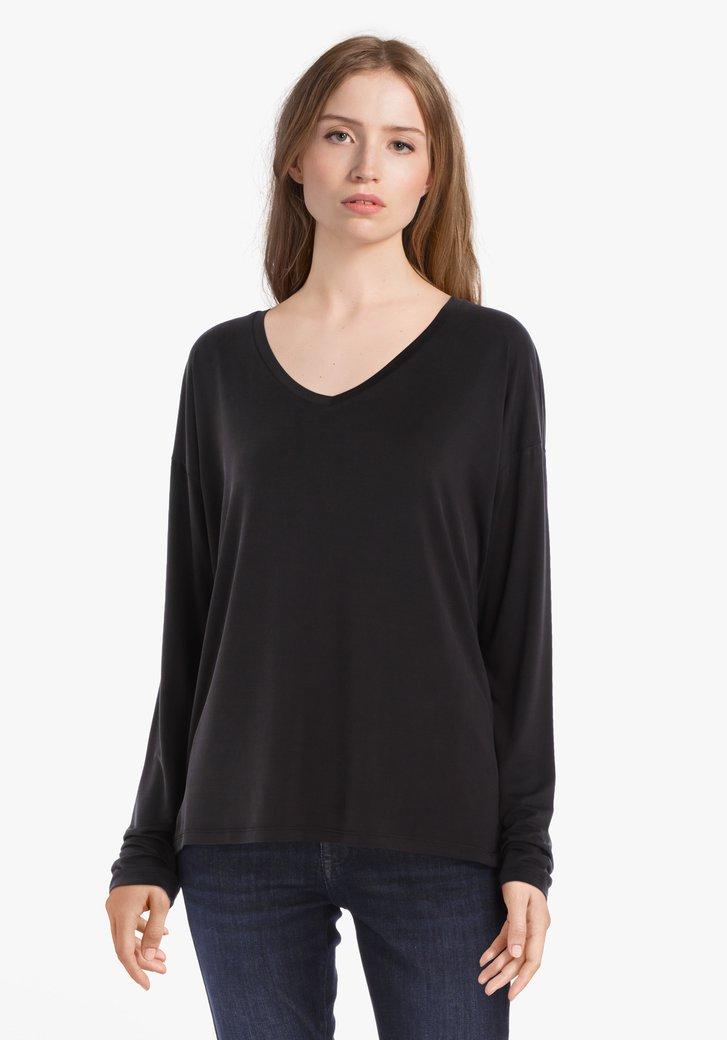 Zwart T-shirt in cupro