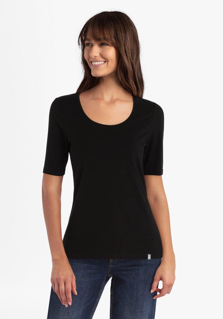 Zwart T-shirt in stretchkatoen