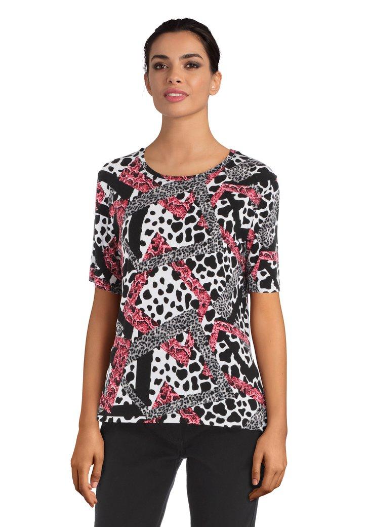 Zwart T-shirt met dierenprints