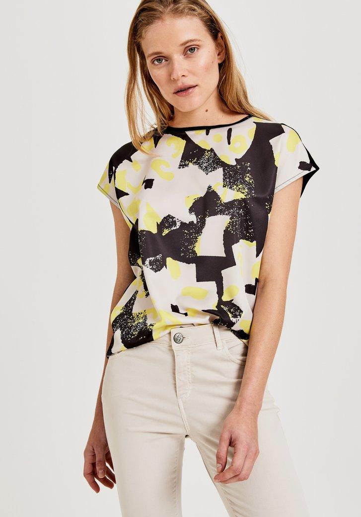 Zwart T-shirt met gele print