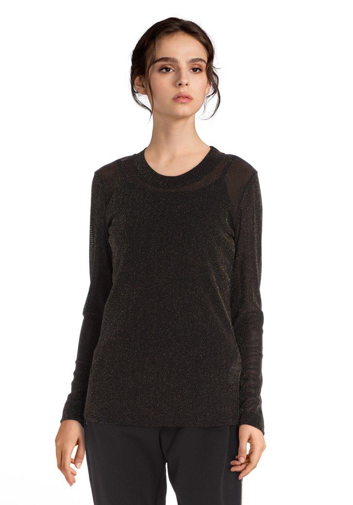 Zwart T-shirt met goudkleurige lurex