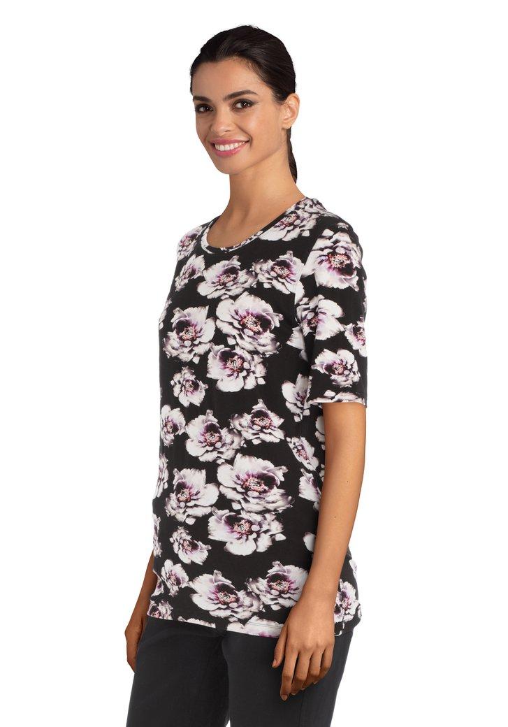 Zwart T-shirt met paarse bloemen