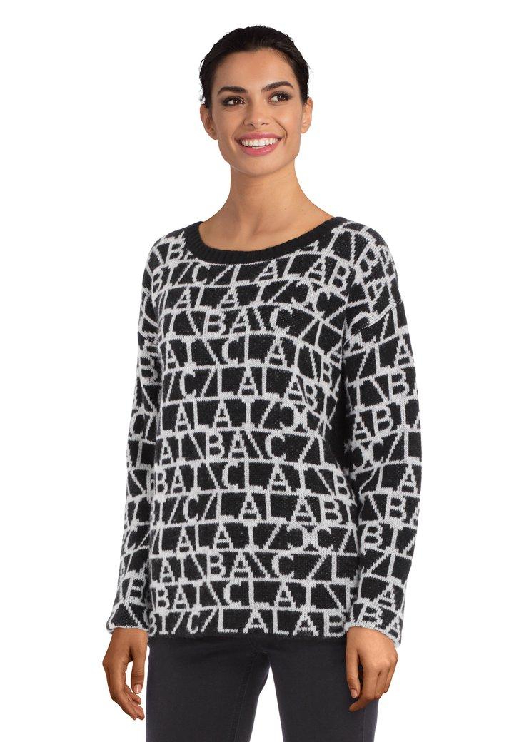 Zwart-witte trui met ronde hals