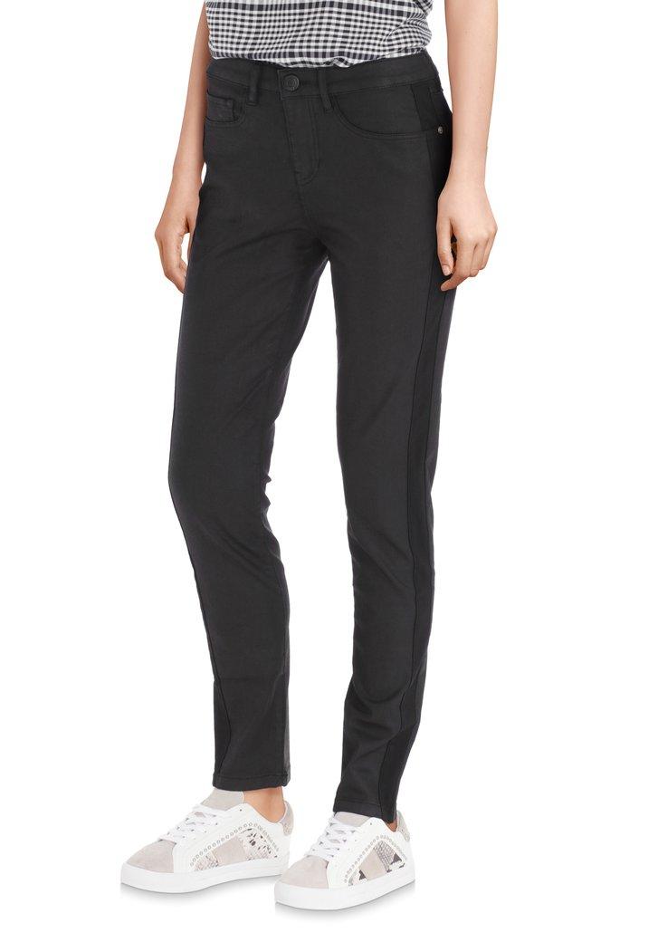 Zwarte 7/8ste broek met coating - slim fit