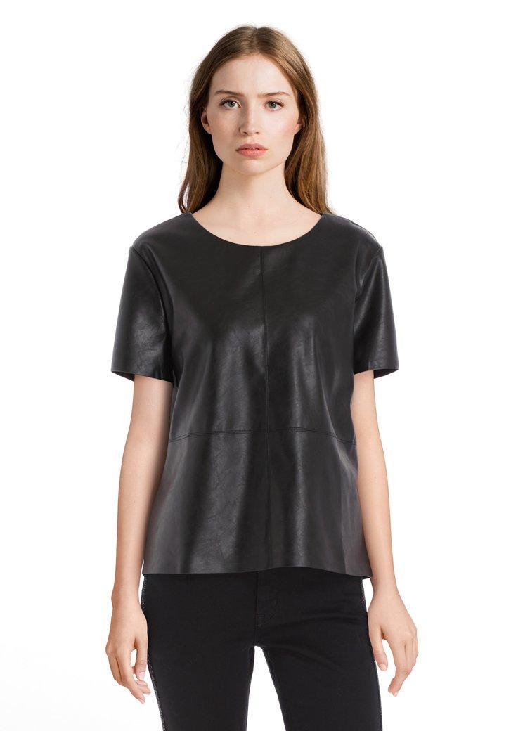 Zwarte blouse in kunstleder