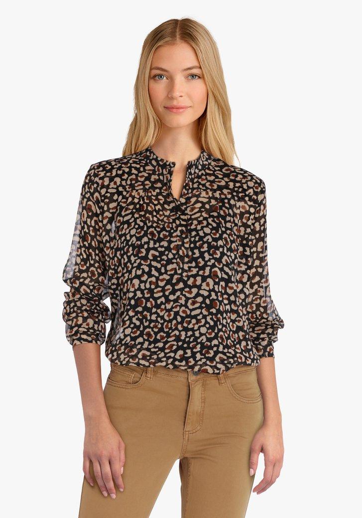 Zwarte blouse met beige print