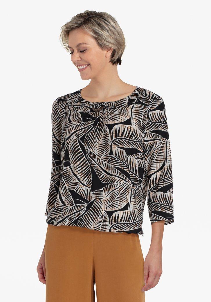 Zwarte blouse met grijze bladerprint