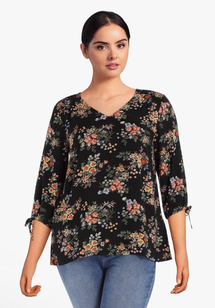 Zwarte blouse met kleine bloemenprint