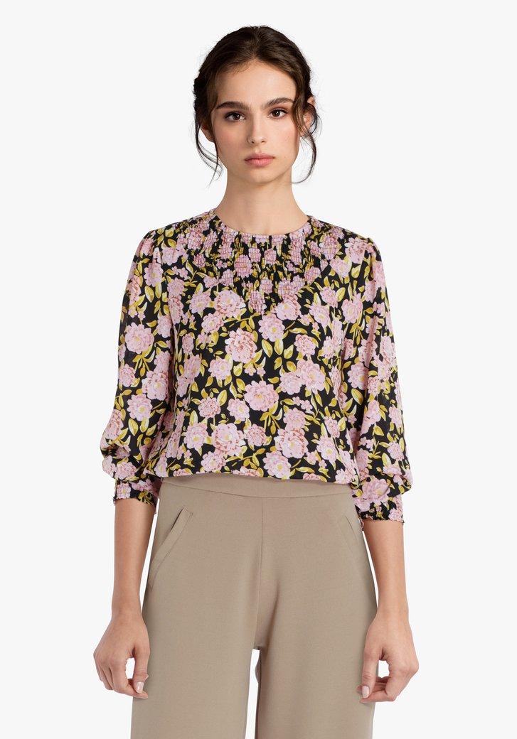 Zwarte blouse met roze bloemen