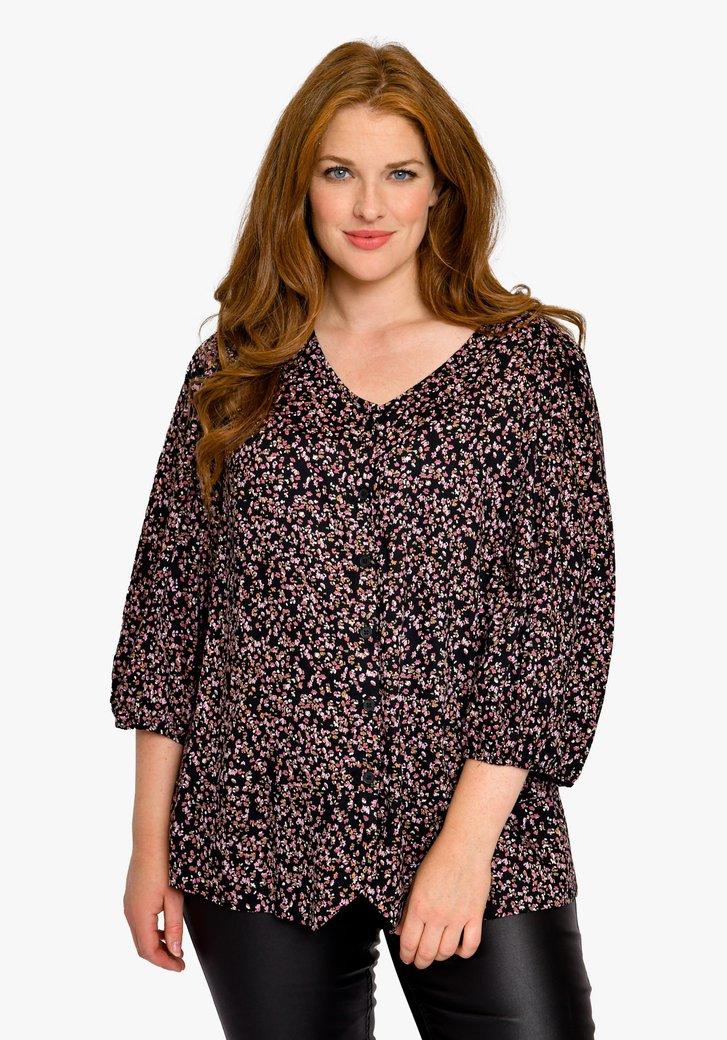 Zwarte blouse met roze bloemenprint