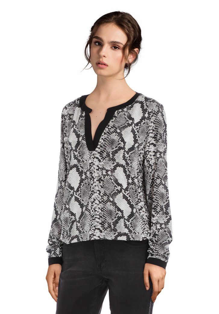 Zwarte blouse met slangenprint