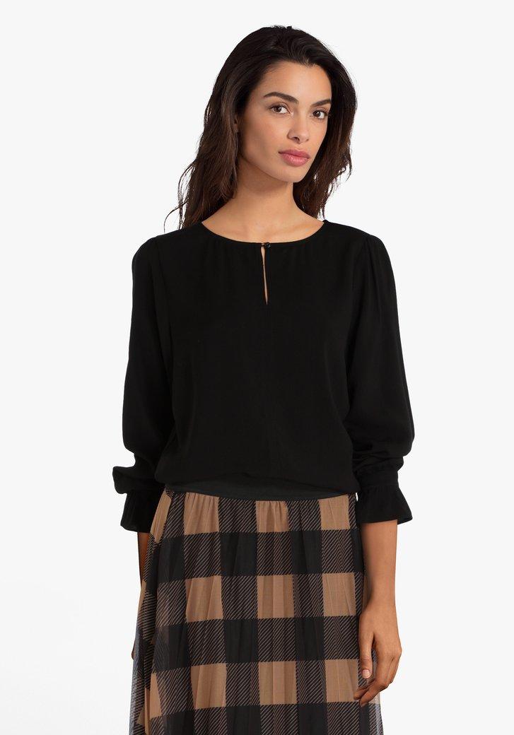 Zwarte blouse met verticale deelnaad