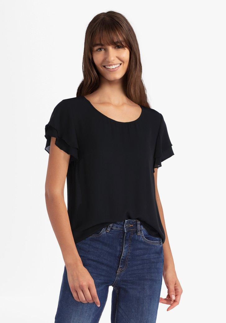 Zwarte blouse met vlindermouwen