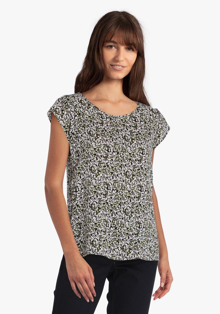 Zwarte blouse met wit-groene print