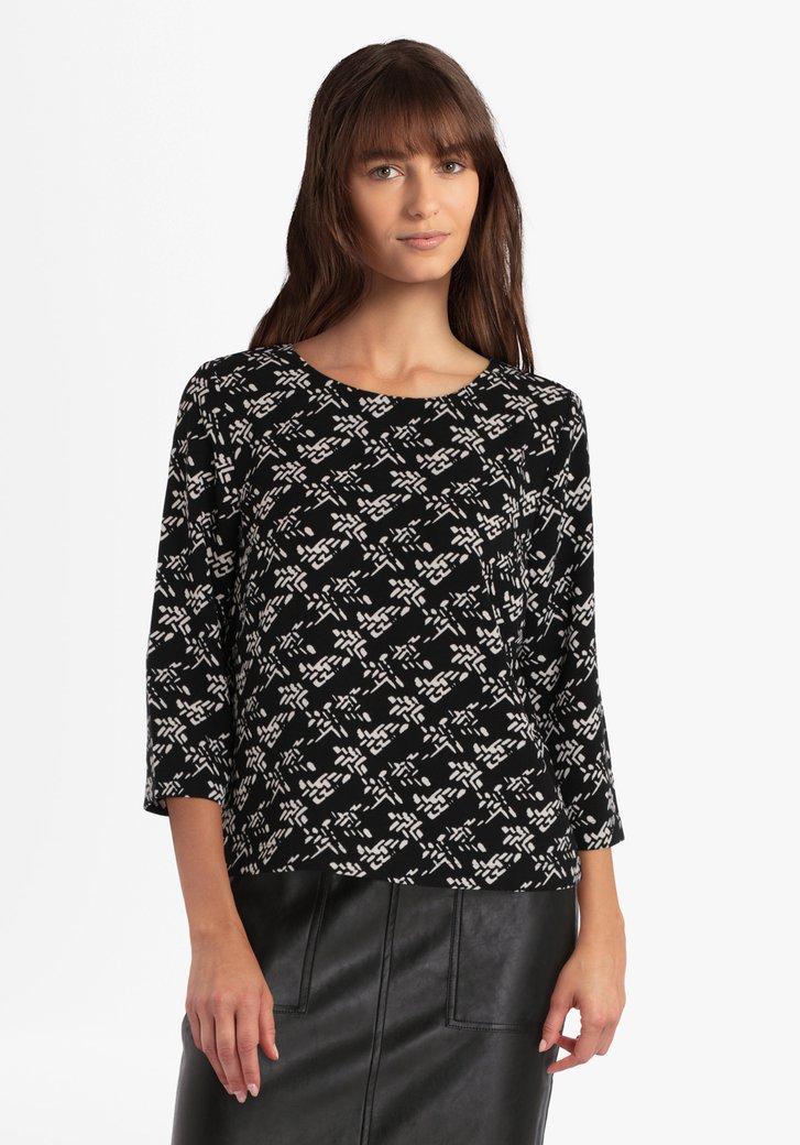 Zwarte blouse met wit motief