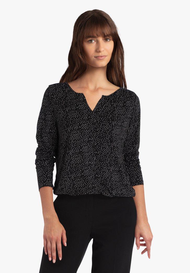 Zwarte blouse met witte stippen