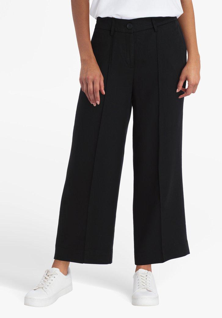 Zwarte brede broek met elastische taille