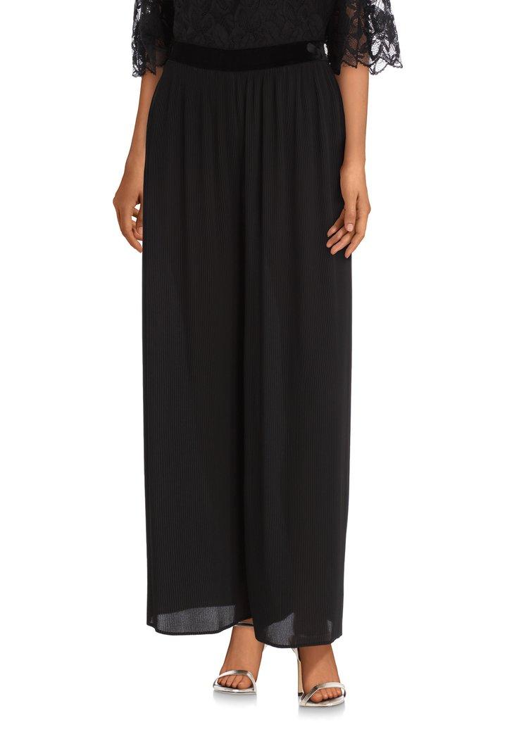 Afbeelding van Zwarte broek in plisséstof - straight fit