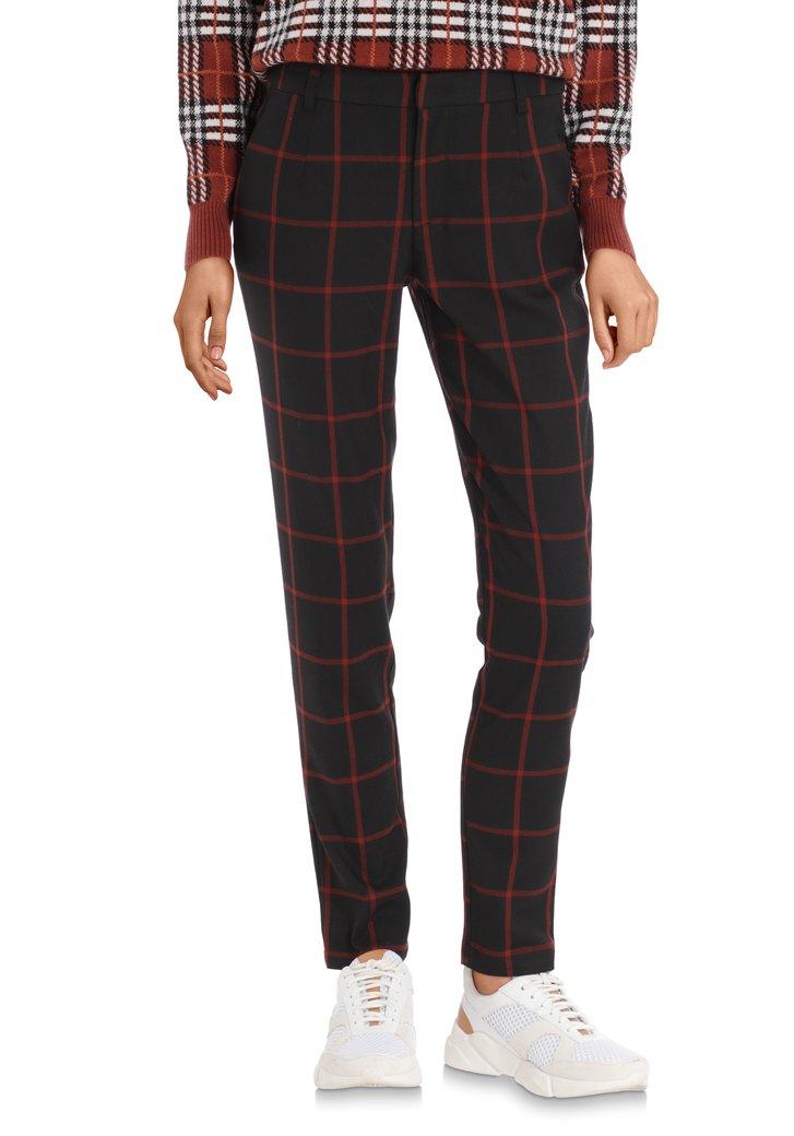 Afbeelding van Zwarte broek met bordeaux ruiten - slim fit