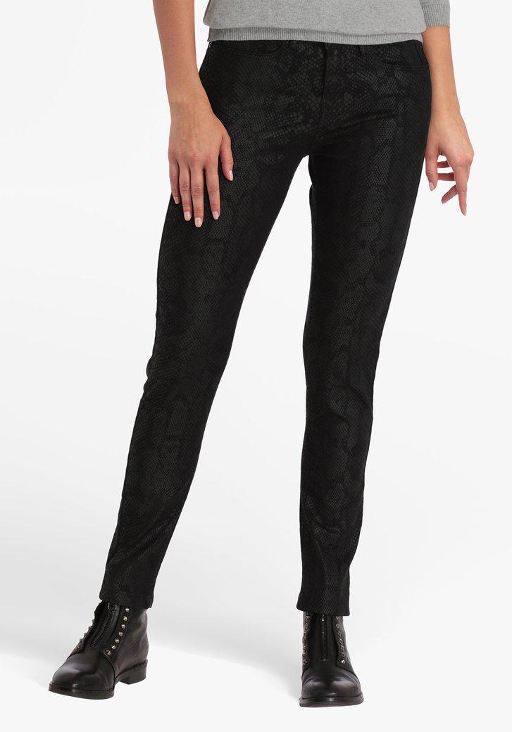 Zwarte broek met slangenmotief - skinny fit